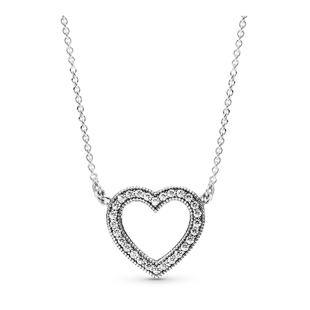 Pandora Loving Hearts Of Pandora Necklace, Clear Cz Pertaining To Most Popular Pandora Lockets Heart Key Necklaces (View 13 of 25)