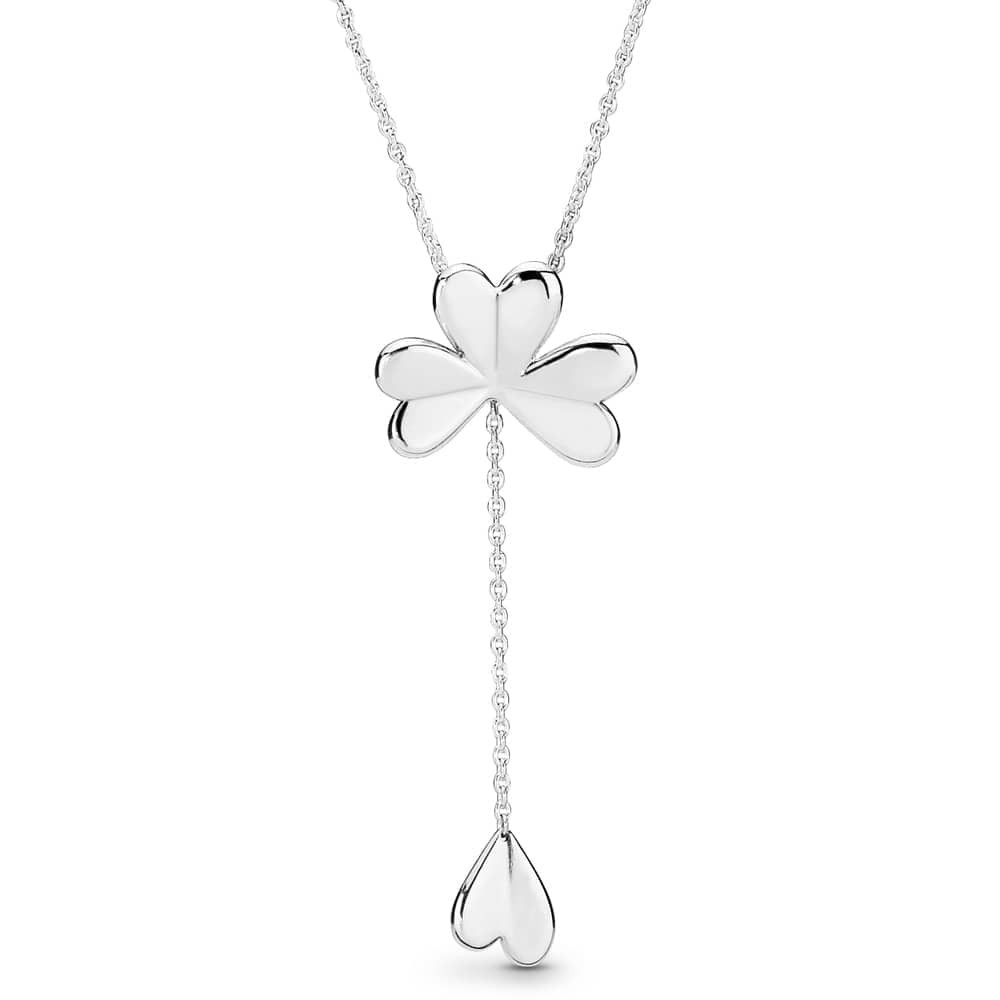 Pandora Lucky Four Leaf Clover Necklace 397925 | The Jewel Hut Throughout Newest Lucky Four Leaf Clover Pendant Necklaces (View 1 of 25)