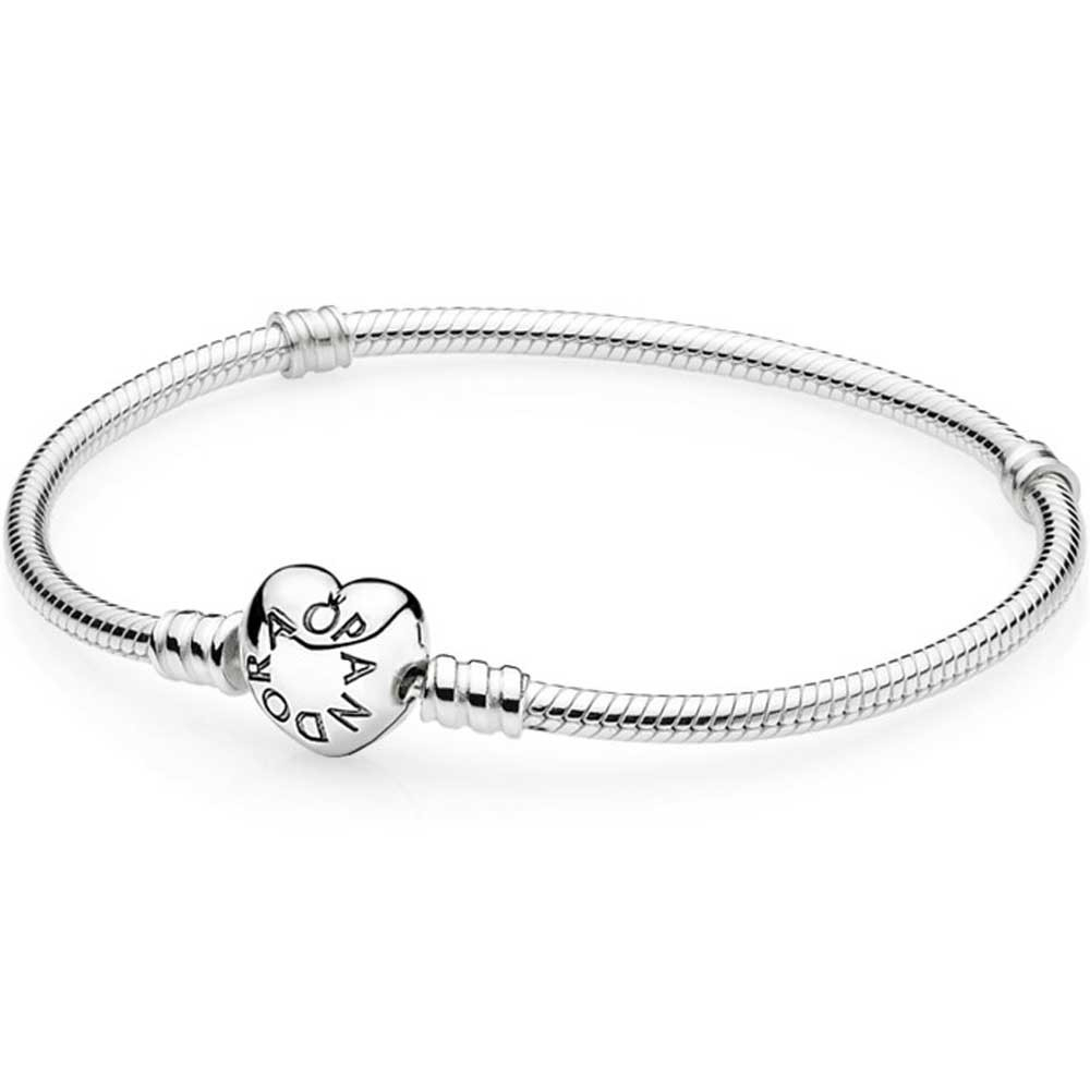 Pandora Moments Heart & Snake Chain Charm Bracelet 590719 With Regard To Latest Pandora Moments Snake Chain Necklaces (View 15 of 25)