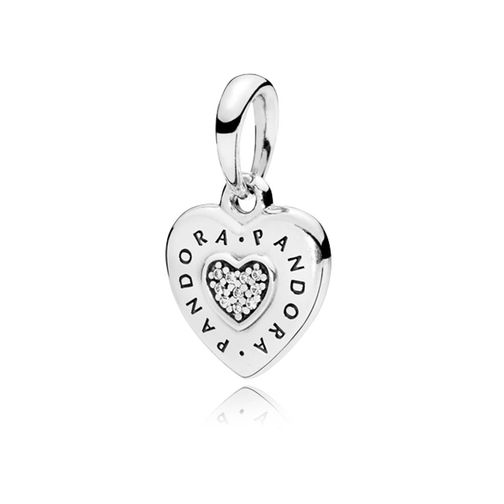 Pandora Pandora Signature Heart Pendant, Clear Cz Sterling Silver Throughout Current Baby Blue Enamel Blue Heart Petite Locket Charm Necklaces (View 6 of 25)