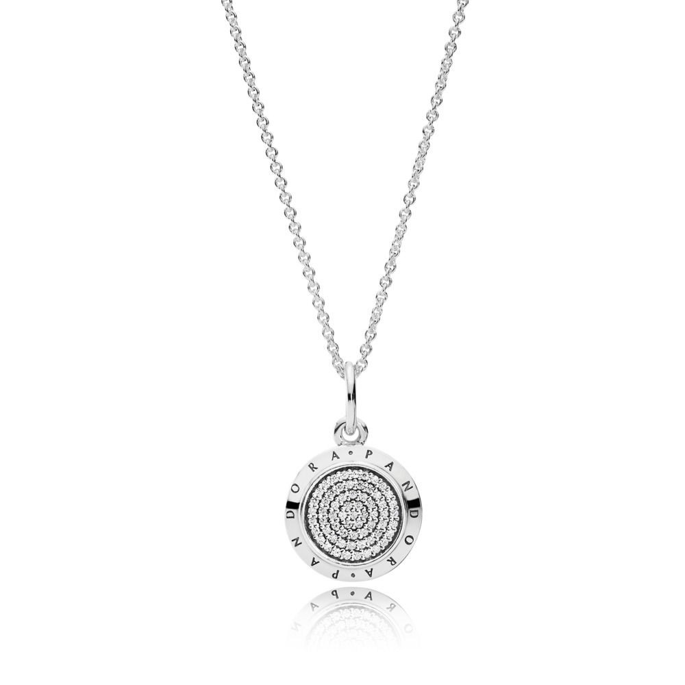 Pandora Pandora Signature Pendant Necklace, Clear Cz Sterling Silver Intended For Most Recent Faceted Locket Dangle Charm, Synthetic Amethyst Necklaces (View 17 of 25)