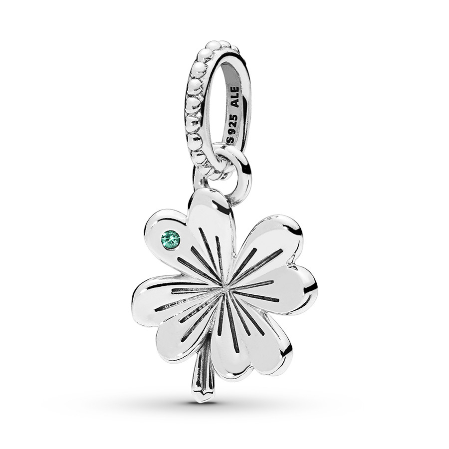 Pandora Pendant Lucky Four Leaf Clovers Sterling Silver Pertaining To Best And Newest Lucky Four Leaf Clover Dangle Charm Necklaces (View 18 of 25)