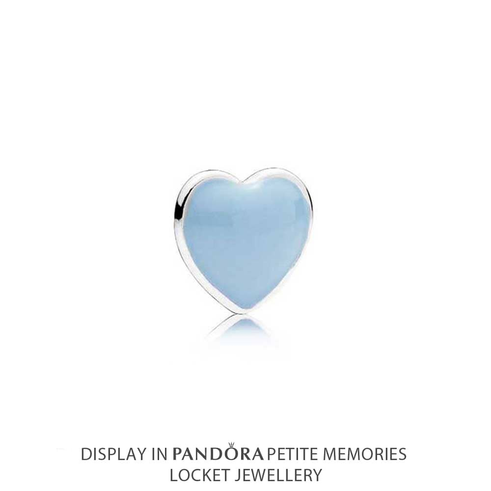 Pandora Petite Memories Blue Heart Locket Charm 792169en41 Pertaining To Most Up To Date Baby Blue Enamel Blue Heart Petite Locket Charm Necklaces (View 2 of 25)
