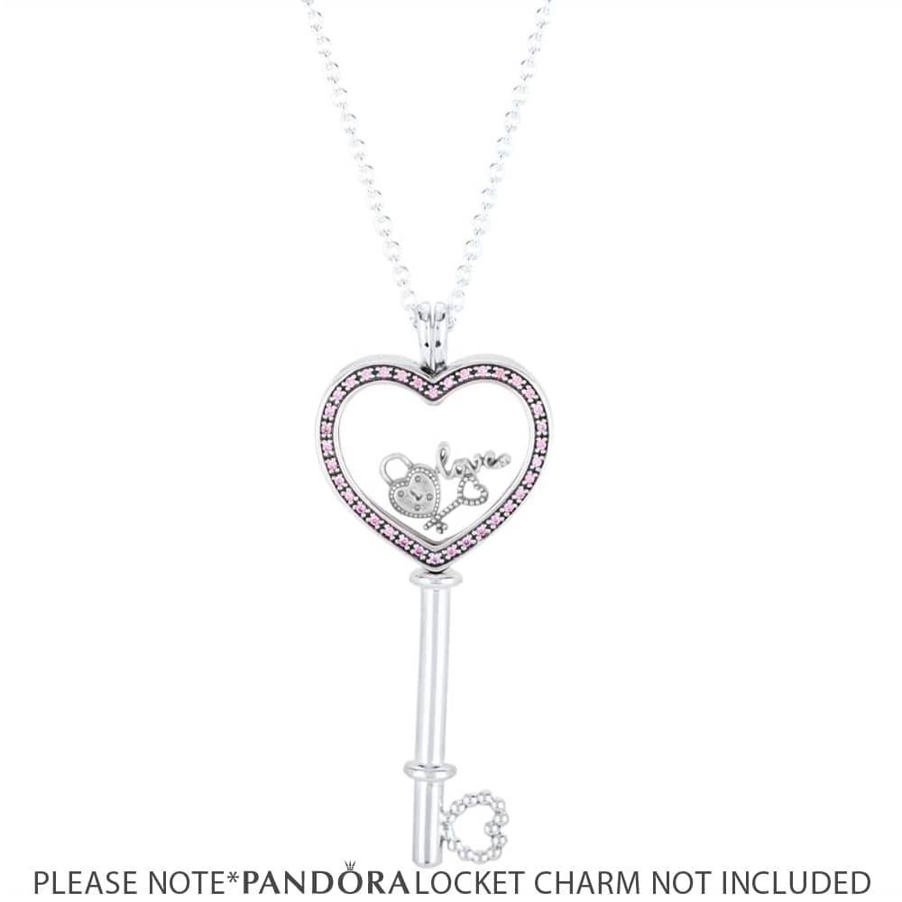 Pandora Pink Floating Locket Heart Key Necklace 396584fpc 80 With Recent Pandora Lockets Logo Necklaces (View 16 of 25)