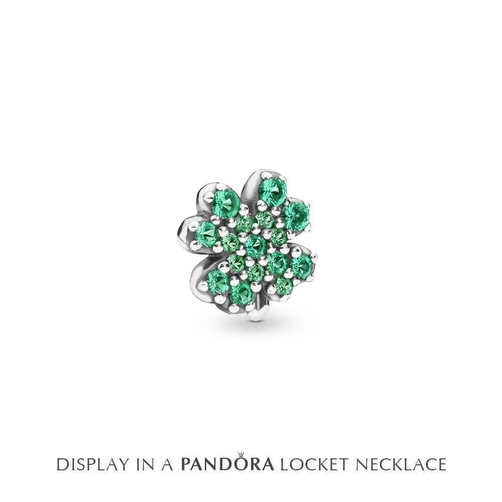 Pandora Radiant Green Clover Petite Locket Charm 797867Nrg In Most Recent Royal Green Crystal May Droplet Pendant Necklaces (View 18 of 25)