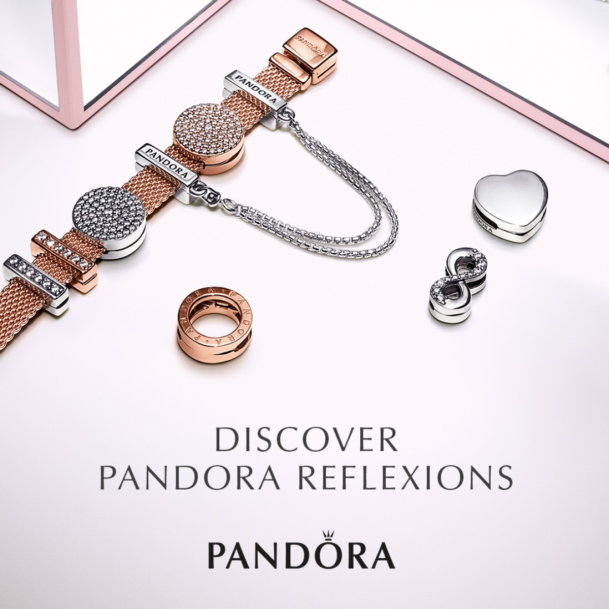 Pandora Reflexions Rose 587712 Armband Damen Mesh Inside 2019 Pandora Reflexions Mesh Choker Necklaces (View 8 of 25)