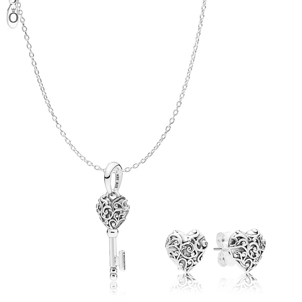 Pandora Regal Hearts Jewellery Set Cn150 Within 2019 Pandora Lockets Heart Key Necklaces (View 16 of 25)