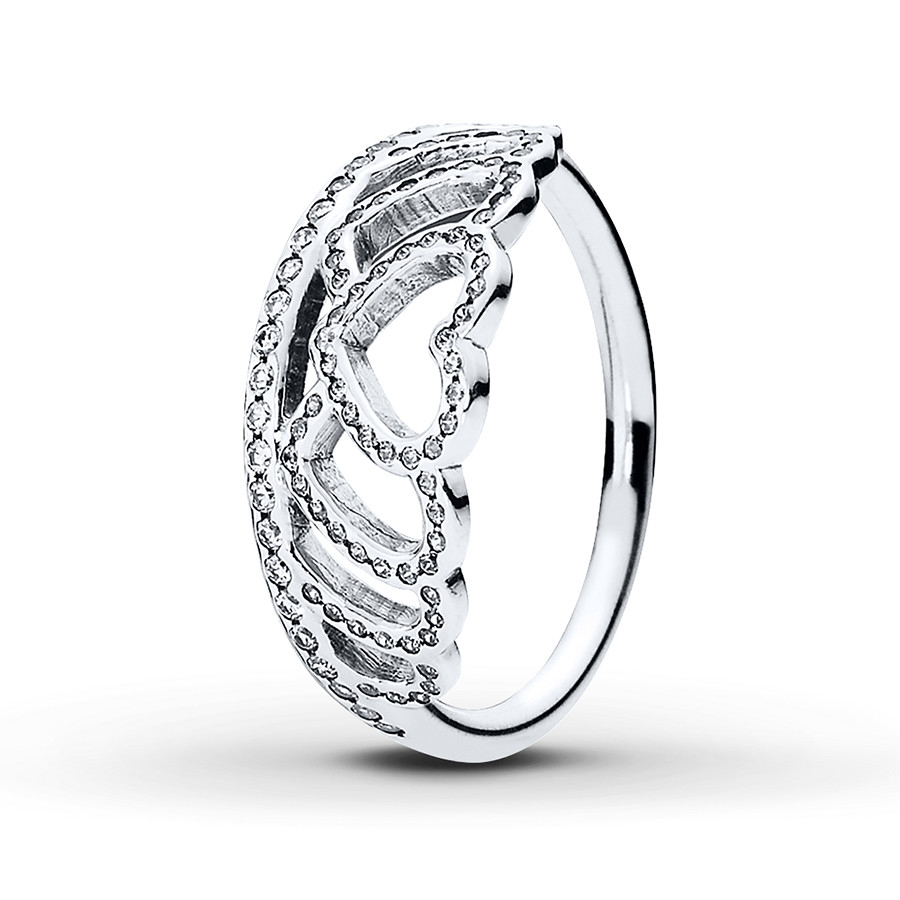 Pandora Ring Hearts Tiara Sterling Silver Throughout Newest Clear Sparkling Crown Rings (View 16 of 25)