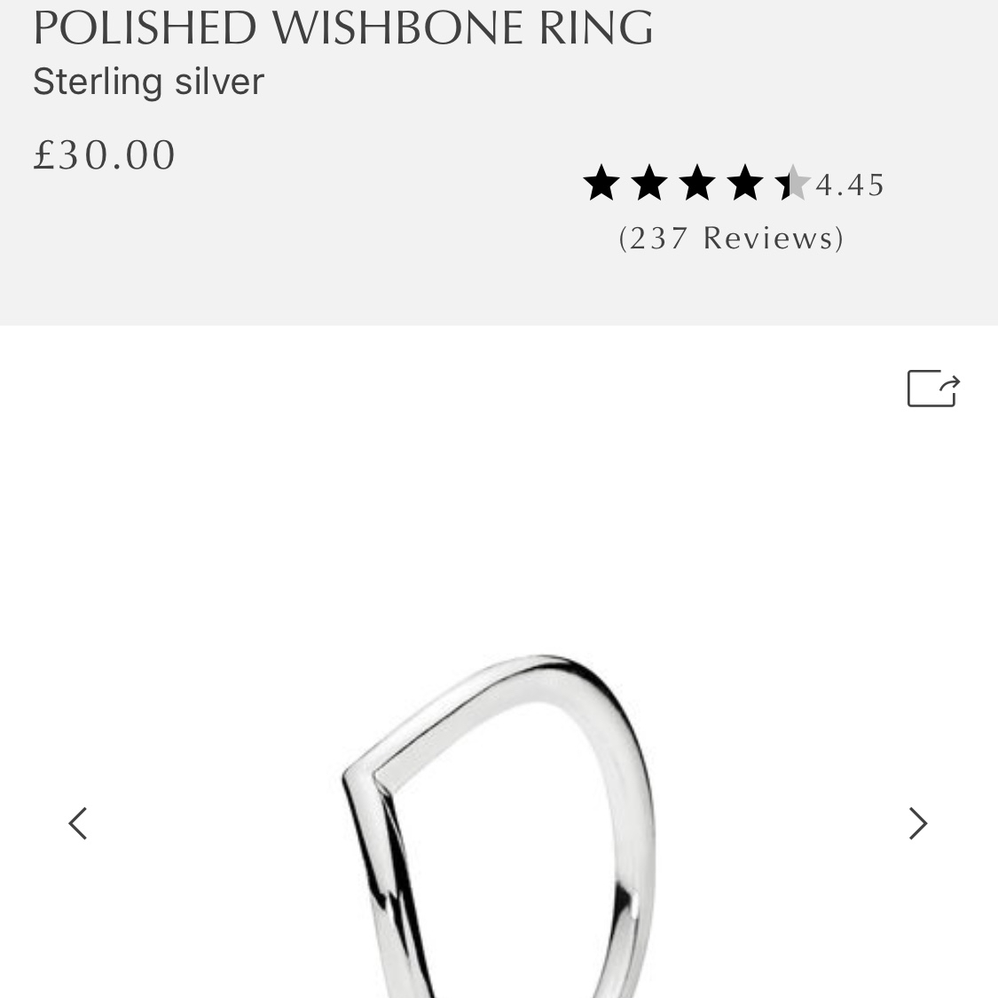 Pandora Ring. Silver Polished Wishbone Ring (View 16 of 25)