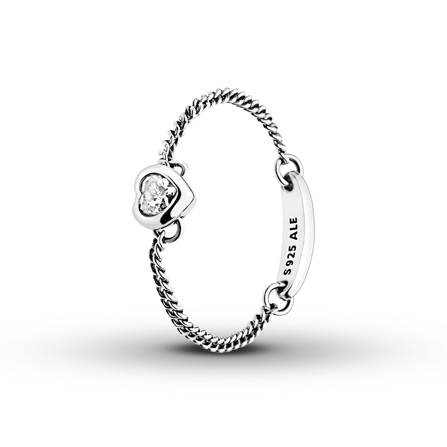 Pandora Ring Spirited Heart Clear Cz Sterling Silver In 2018 Heart Shaped Pandora Logo Rings (View 3 of 25)