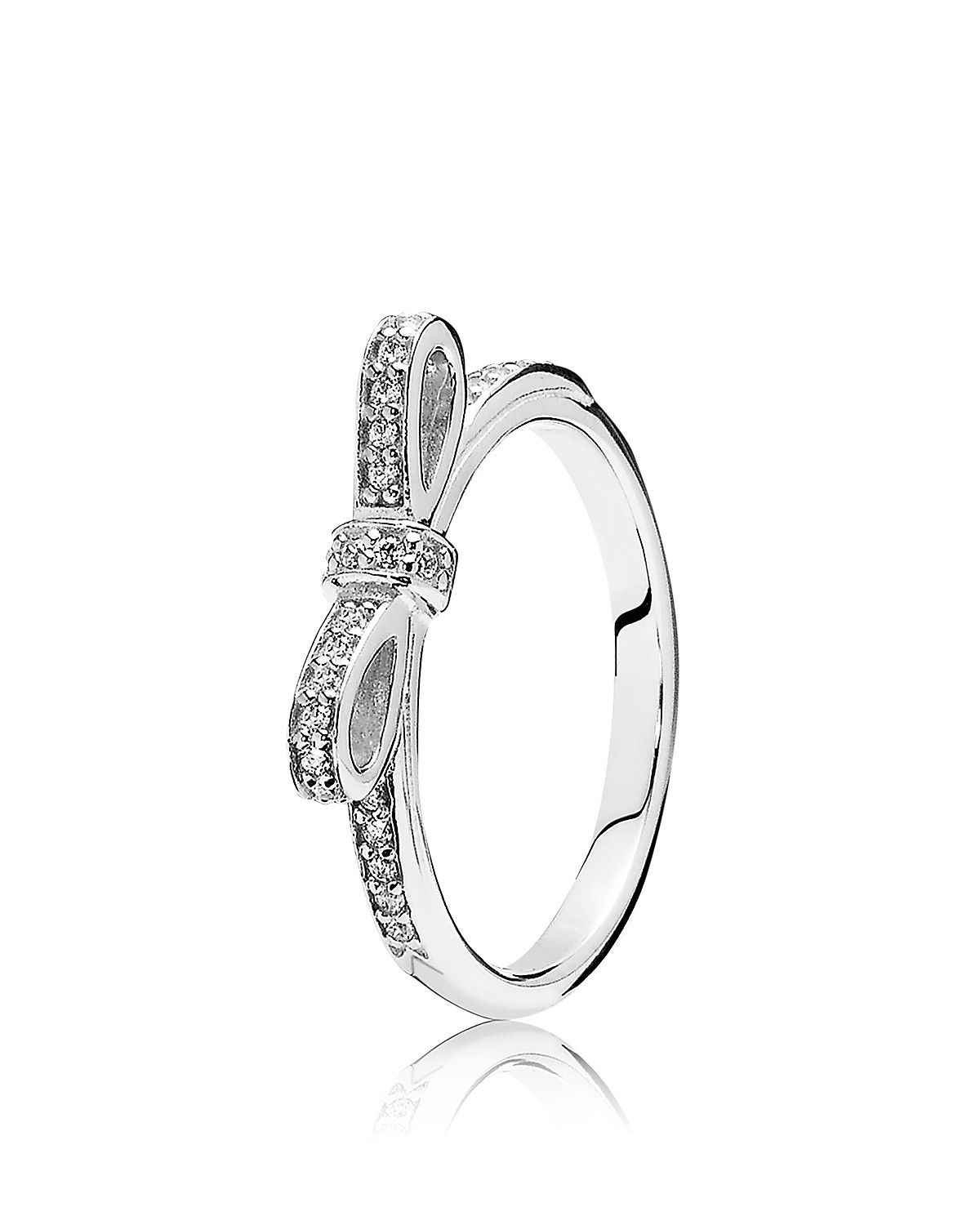 Pandora Ring – Sterling Silver Cubic Zirconia Sparkling Bow (View 17 of 25)
