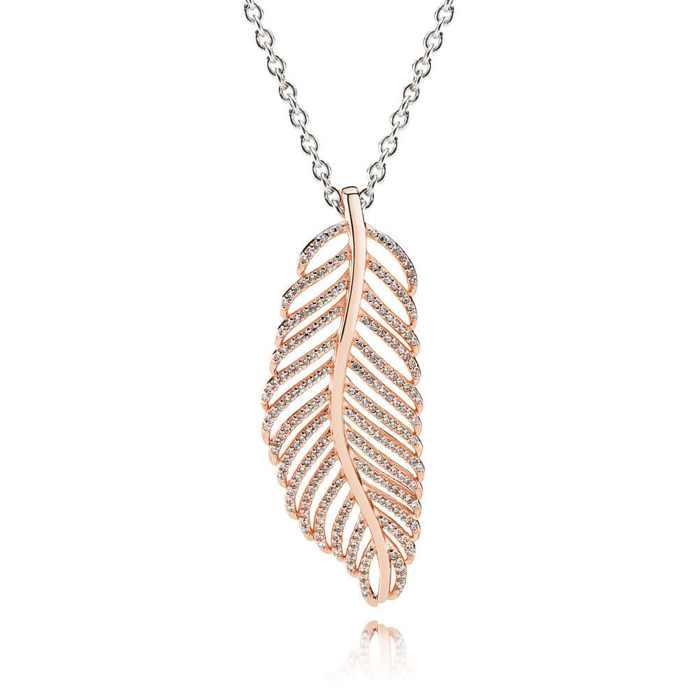 Featured Photo of Shimmering Feather Pendant Necklaces