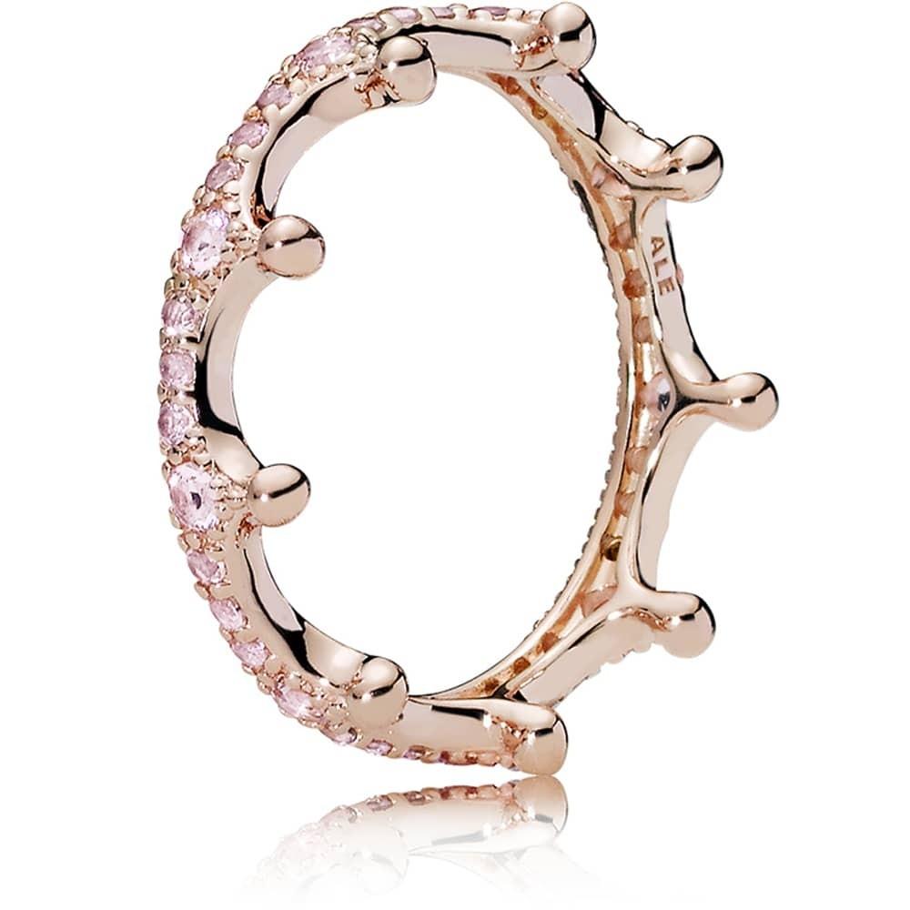 Pandora Rose Pink Enchanted Tiara Ring 187087npo Throughout Most Popular Pink Sparkling Crown Rings (View 11 of 25)