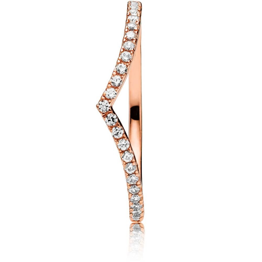 Pandora Rose Shimmering Wish Ring 186316cz Within Most Popular Sparkling Wishbone Rings (View 7 of 25)