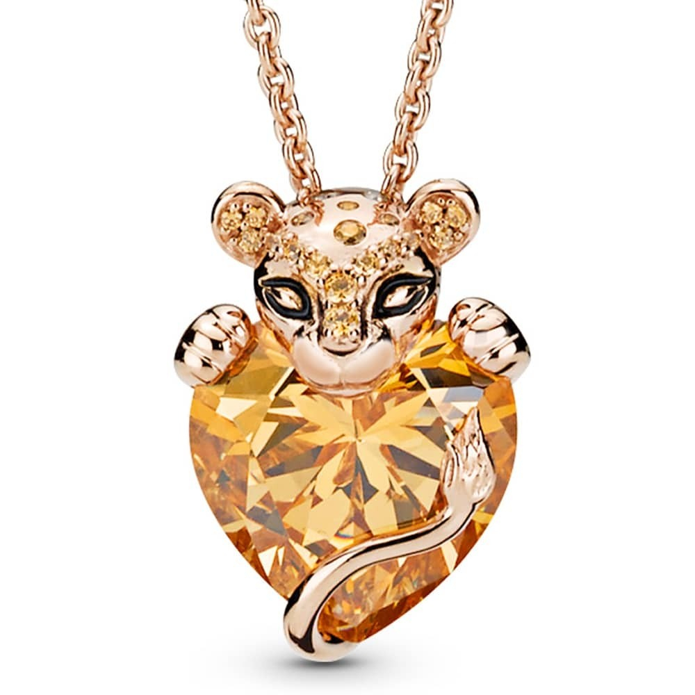 Pandora Rose Sparkling Lion Princess Heart Necklace 388068czn Pertaining To Latest Sparkling Lioness Heart Pendant Necklaces (View 2 of 25)