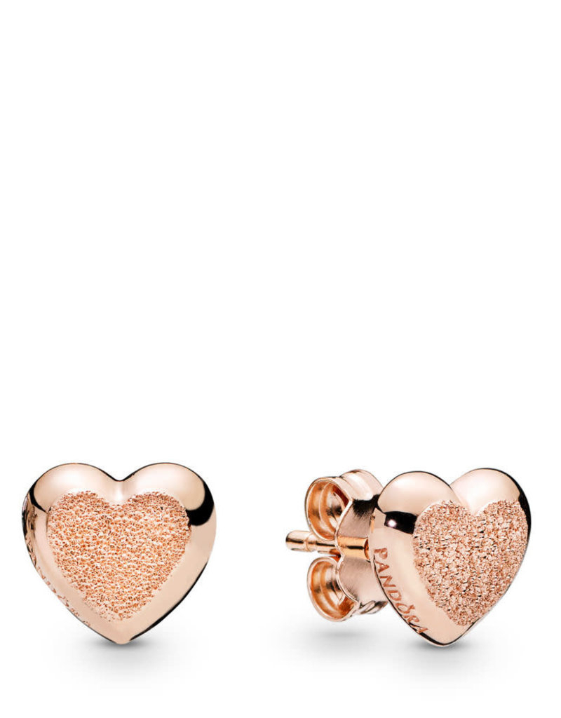 Pandora Rose Stud Earrings, Matte Brilliance Hearts For 2019 Matte Brilliance Heart Pendant Necklaces (View 9 of 25)