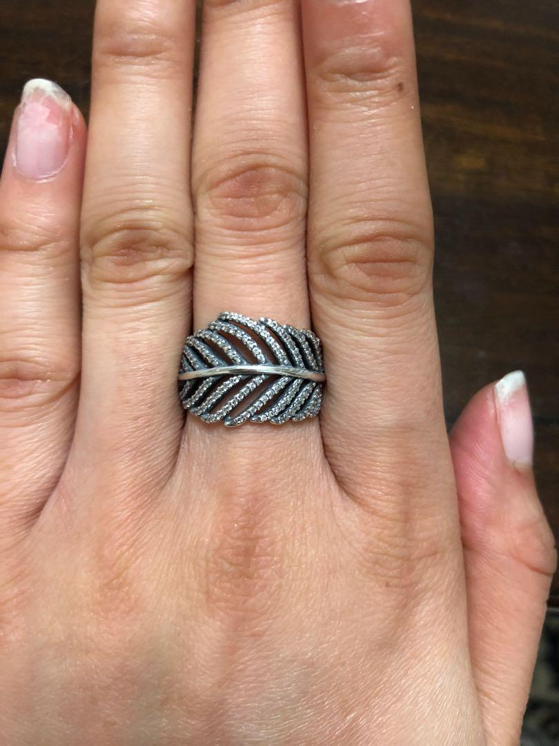 Pandora Shimmering Feather Ring, Women's Fashion, Jewellery, Rings For Most Popular Shimmering Feather Rings (View 2 of 25)