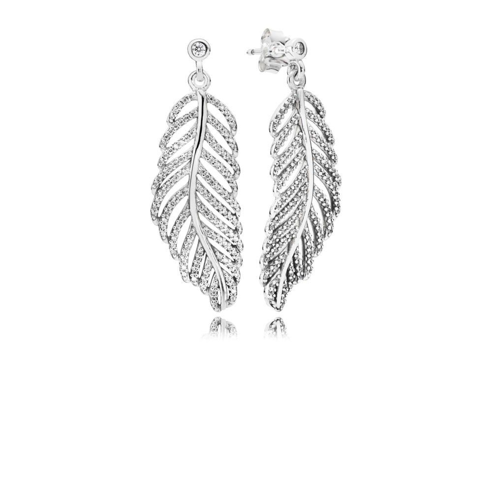 Pandora Shimmering Feathers Earrings 290584cz Inside Most Current Shimmering Feather Rings (View 5 of 25)