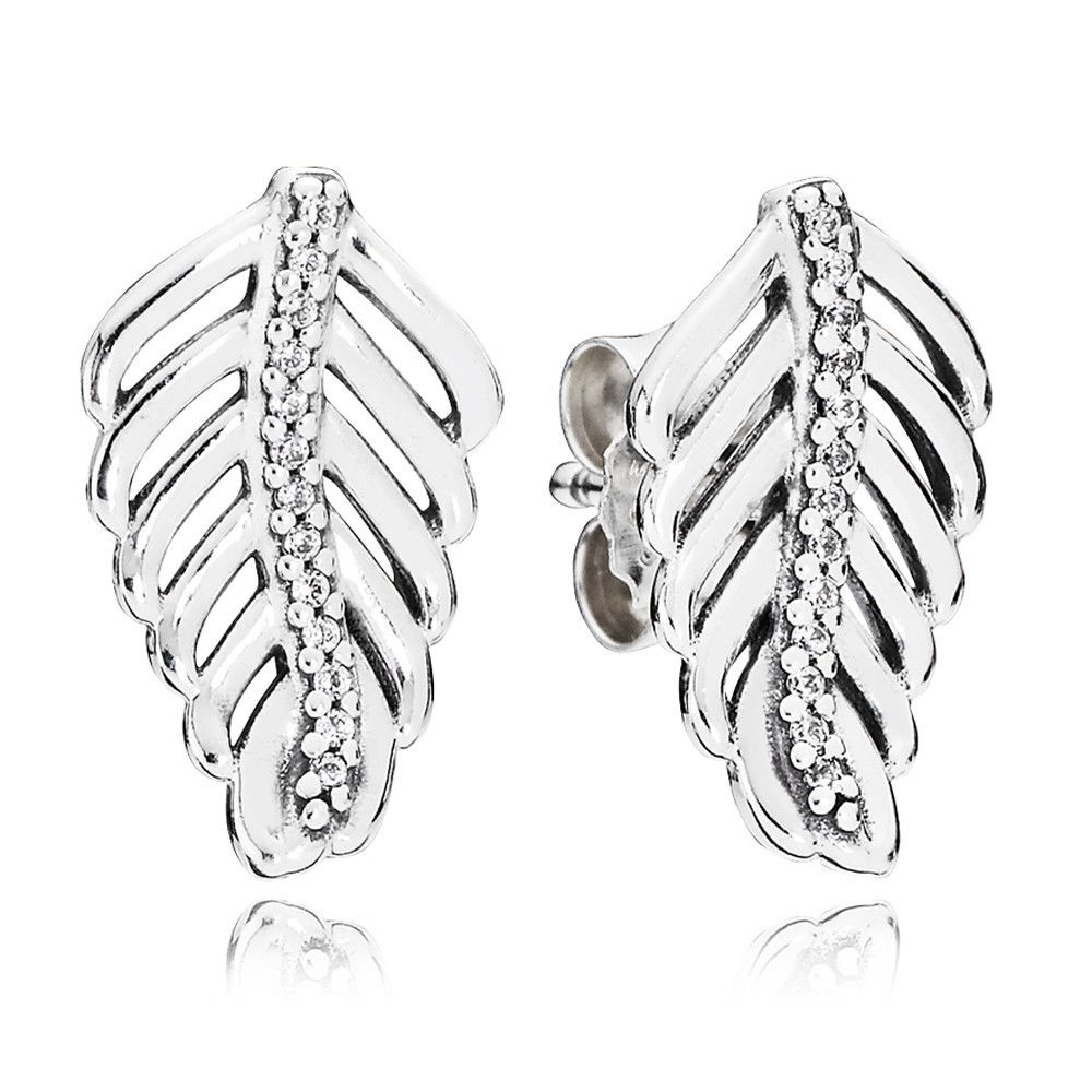Pandora Shimmering Feathers Feather Stud Earrings Jsp1274 With Cubic Zirconia With 2018 Shimmering Feather Rings (View 13 of 25)