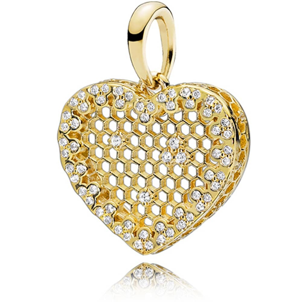 Pandora Shine Honeycomb Lace Pendant 367111Cz For 2020 Heart Honeycomb Lace Pendant Necklaces (View 15 of 25)