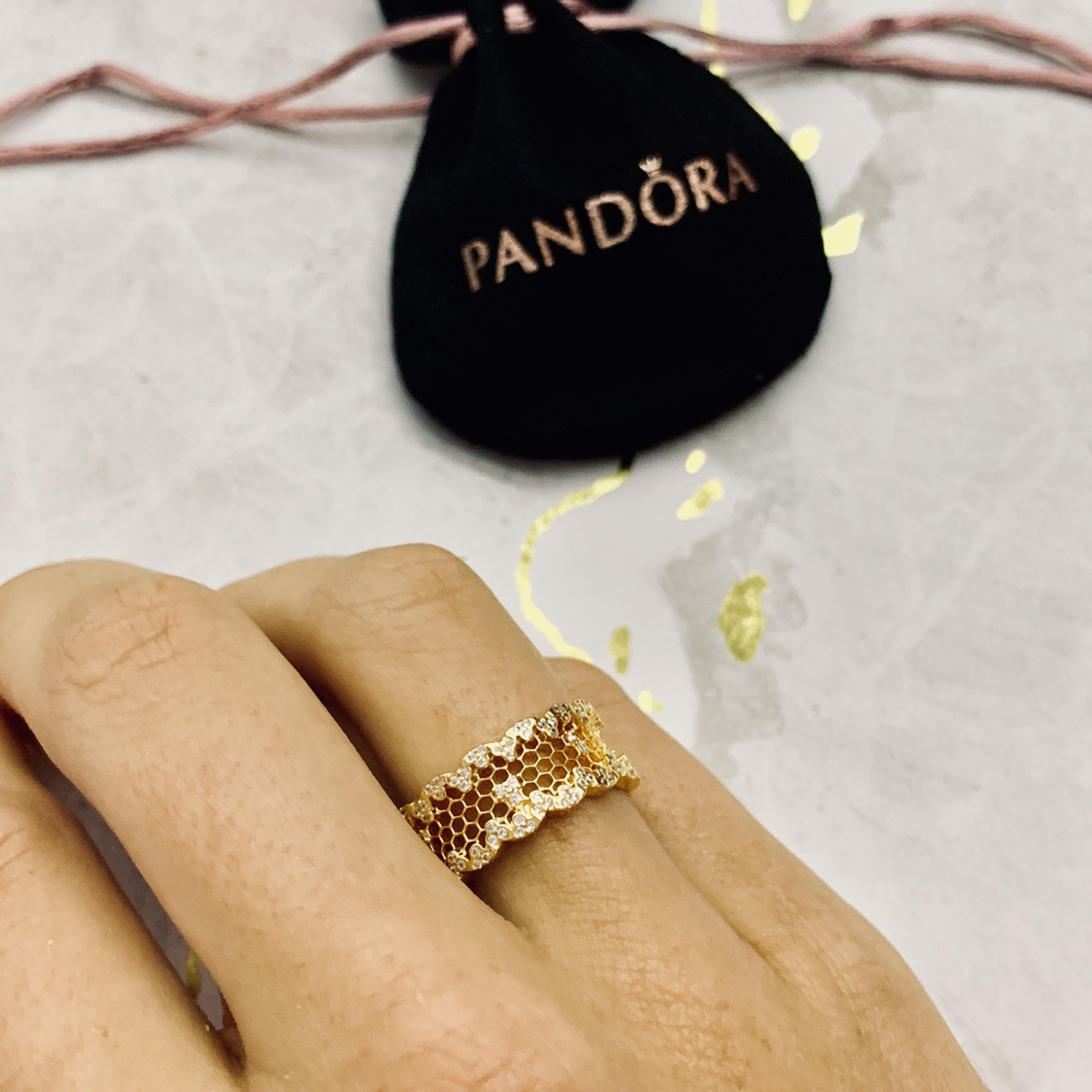 Pandora Shine Honeycomb Lace Ring: Size 56 (18ct – Depop For 2017 Honeycomb Lace Rings (View 11 of 25)