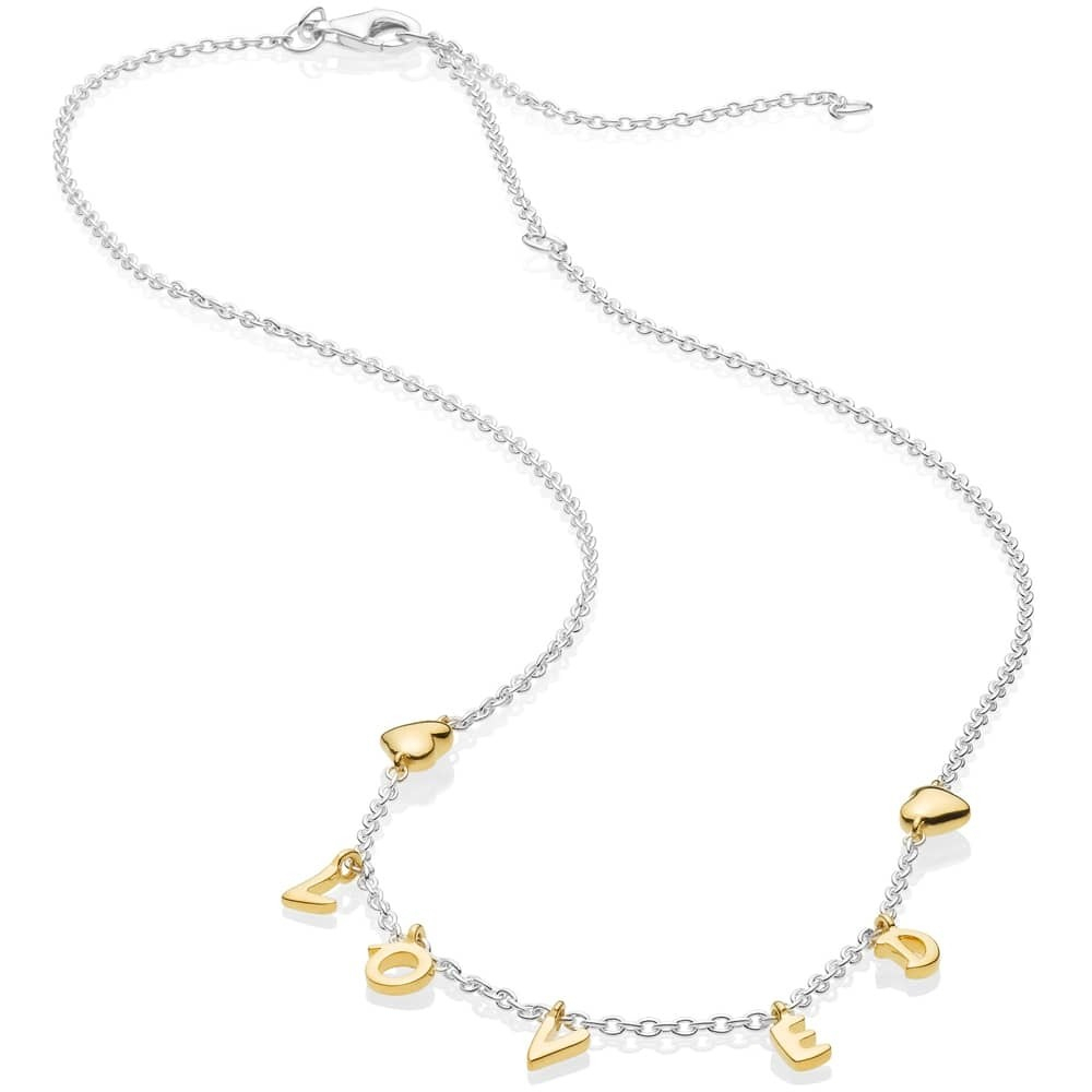Pandora Shine Loved Script Necklace 367818 With Regard To Current Loved Script Necklaces (View 8 of 25)