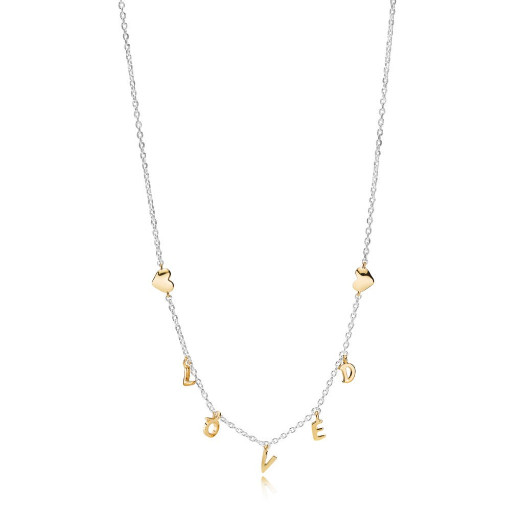 Pandora Shine™ Necklace Loved Script 367818 • Charmsnetsale Regarding 2019 Loved Script Necklaces (View 3 of 25)
