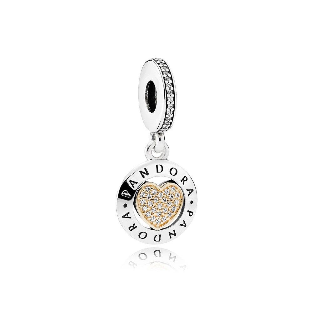 Pandora Signature Heart, Clear Cz Dangle In Ss & 14K Gold 792082Cz With Regard To Newest Pandora Lockets Logo Dangle Charm Necklaces (View 17 of 25)