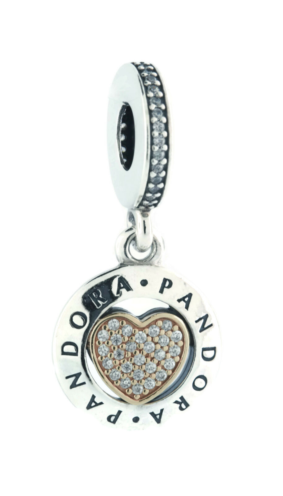 Pandora Signature Heart Logo 925 Real 14K Gold Charm Pendant 792082Cz In Most Recently Released Pandora Logo Pavé Heart Locket Element Necklaces (Gallery 21 of 25)
