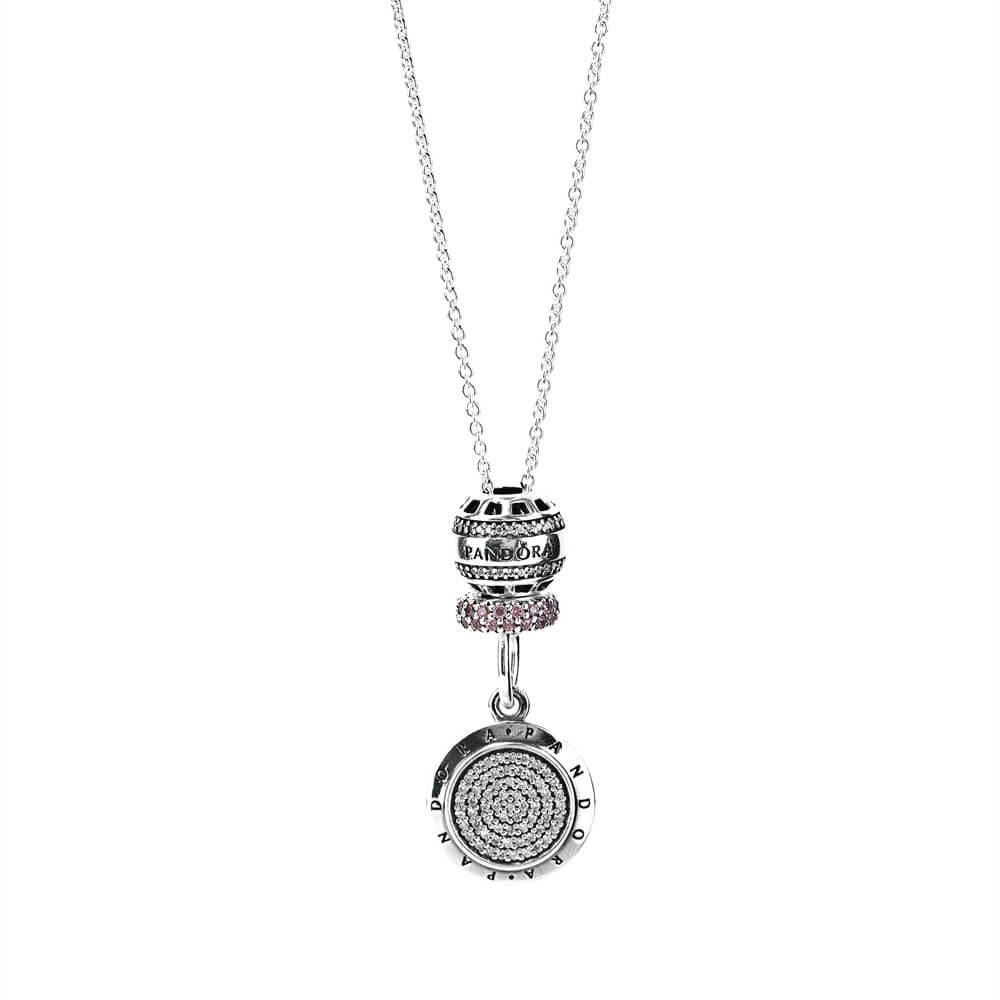 Pandora Signature Necklace Usj0071 With Pave Cz Pertaining To Most Recent Pandora Logo Pavé Pendant Necklaces (Gallery 22 of 25)