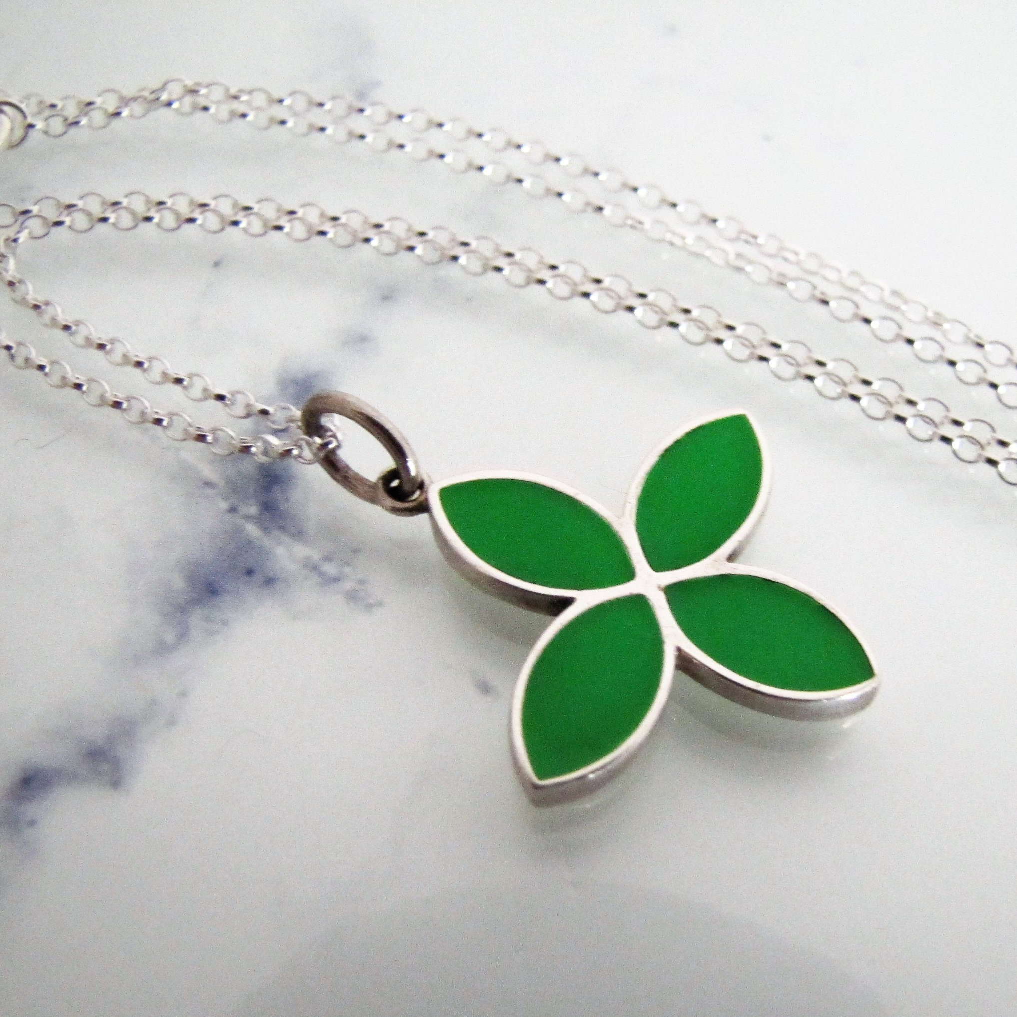 Pandora Silver Enamel Flower Pendant Necklace. Sterling Green Enamel Four Petal Pendant, Italian Trace Chain. Signed Ale (View 18 of 25)