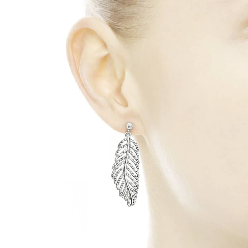 Pandora Silver Shimmering Feather Studs Earrings 290584cz Pertaining To Latest Shimmering Feather Rings (View 12 of 25)
