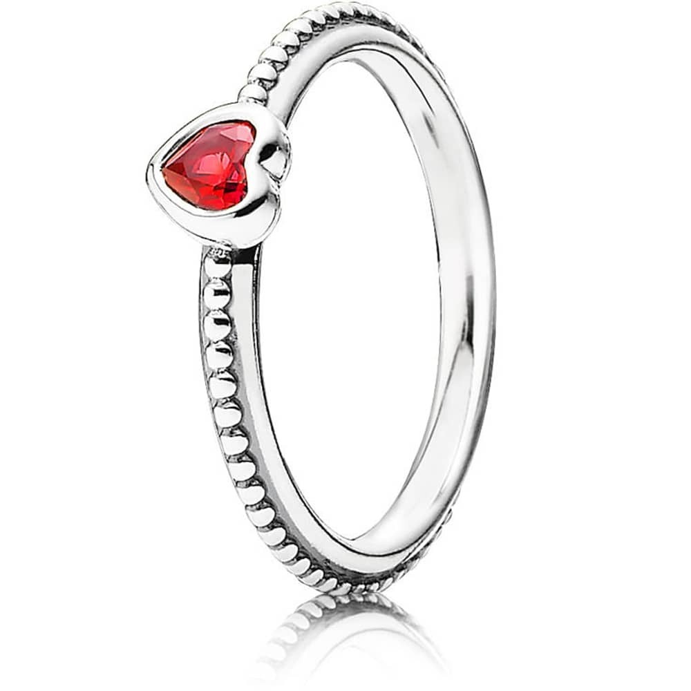 Pandora Silver Synthetic Ruby Heart Ring 190896Sgr Throughout Most Up To Date Beaded Two Hearts Open Rings (View 15 of 25)