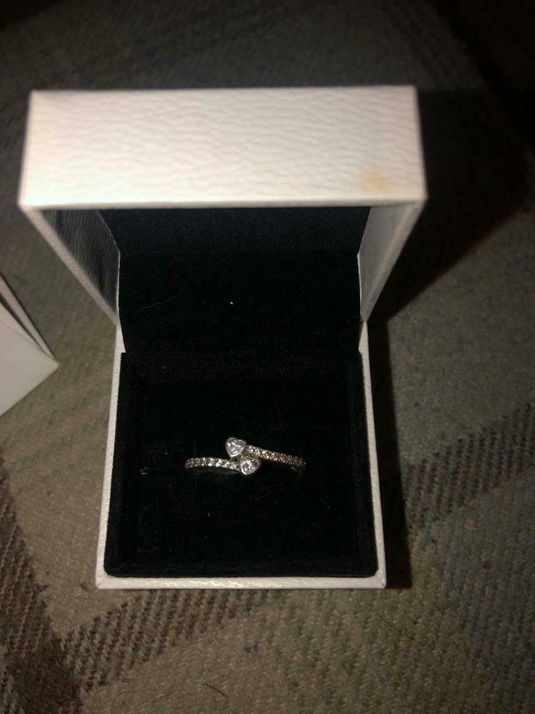Pandora Sparkling 2 Hearts Ring Size 58 | In Brackla, Bridgend | Gumtree Throughout 2017 Two Sparkling Hearts Rings (View 11 of 25)