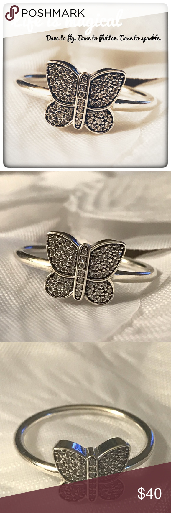 Pandora Sparkling Butterfly Ring, Clear Cz Butterfly Ring In For Most Up To Date Sparkling Butterfly Rings (View 8 of 25)