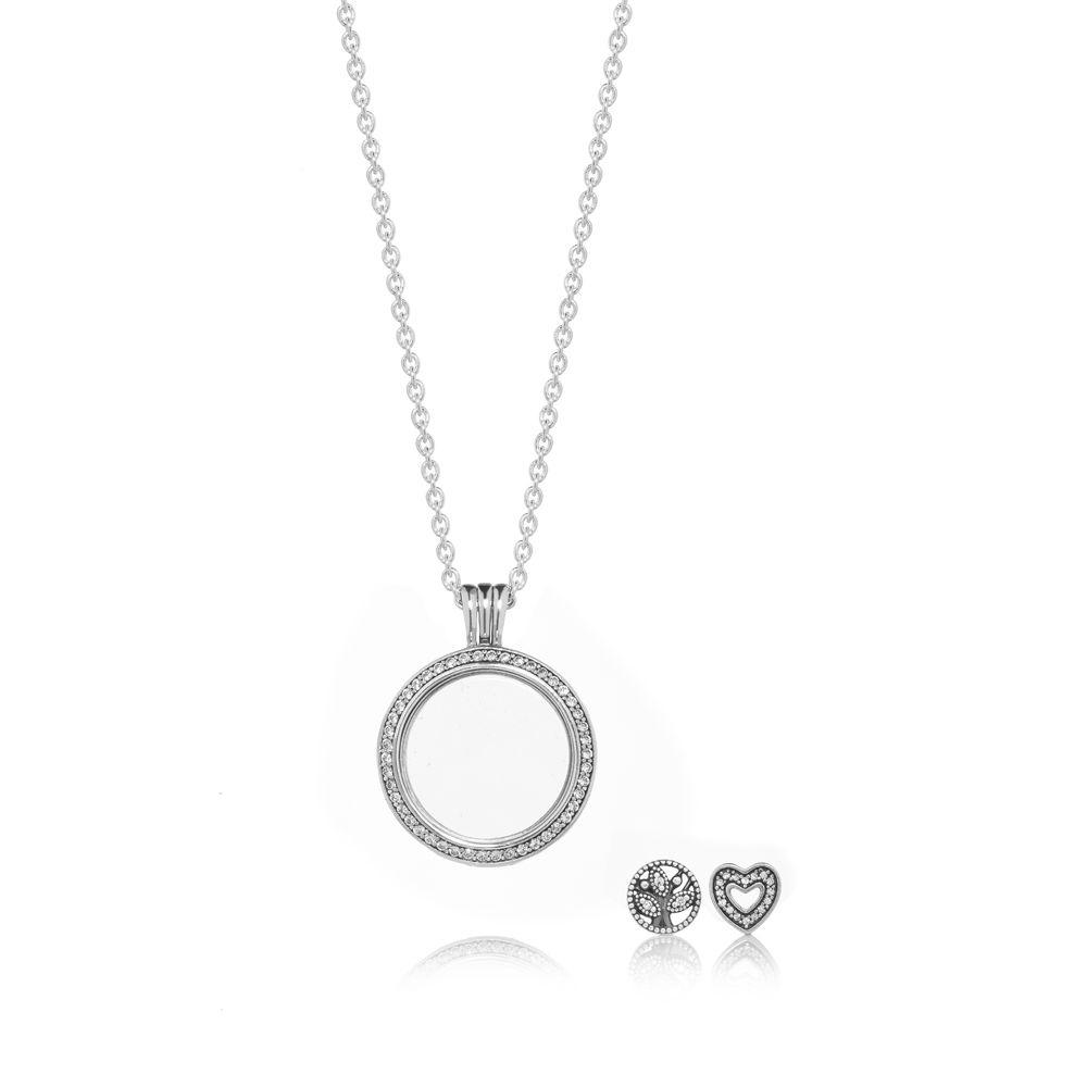 Pandora Sparkling Family Locket Gift Set – B801038 – Helen Kirchhofer For Current Sparkling Gift Locket Element Necklaces (View 7 of 25)
