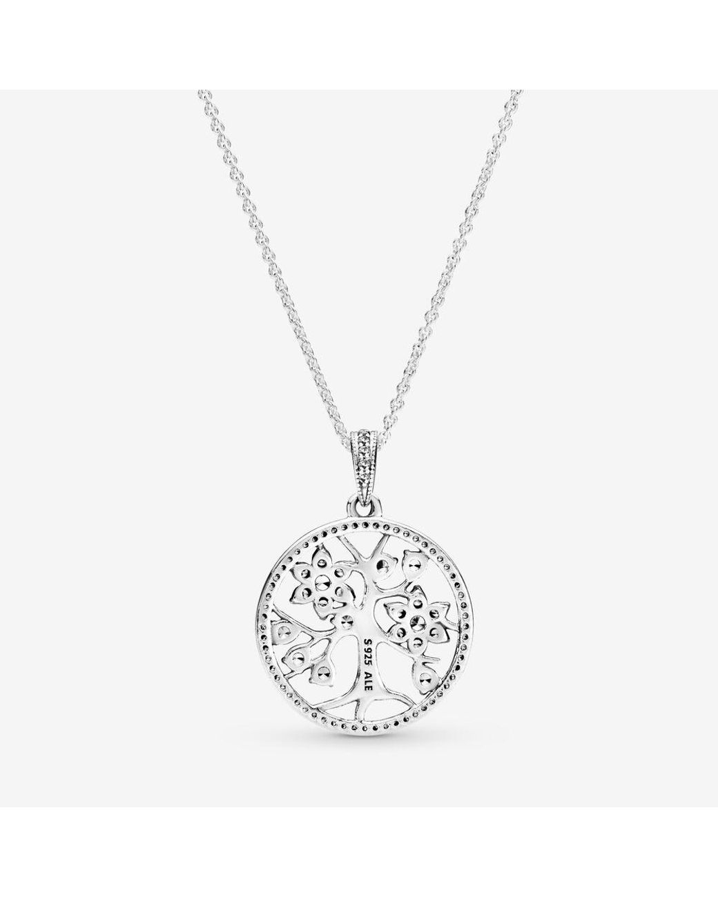 Pandora Sparkling Family Tree Necklace In Metallic – Lyst Regarding Most Current Sparkling Daisy Flower Locket Element Necklaces (View 8 of 25)