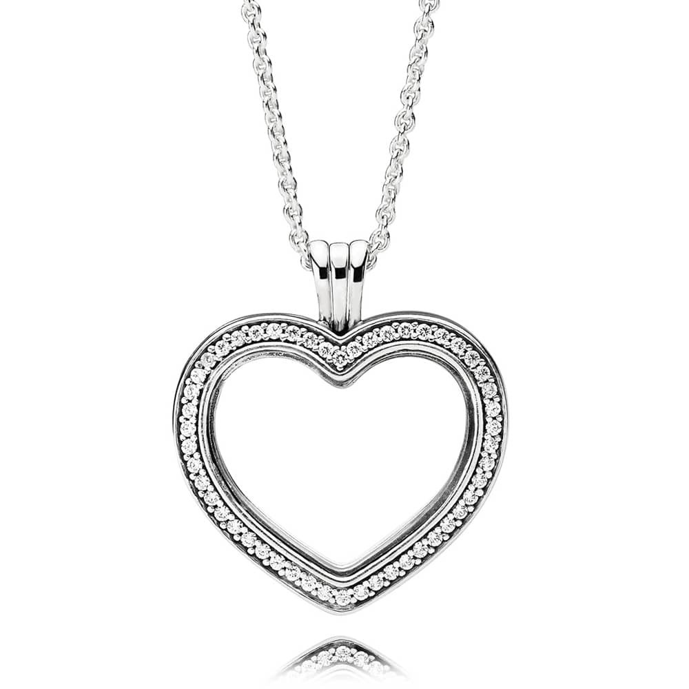 Pandora Sparkling Floating Heart Locket Necklace 397230cz Regarding Most Popular Pandora Lockets Sparkling Necklaces (View 6 of 25)