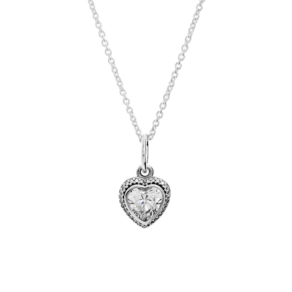 Pandora Sparkling Love Heart Necklace. S925. Chain – Depop Inside Best And Newest Pandora Lockets Sparkling Necklaces (Gallery 21 of 25)
