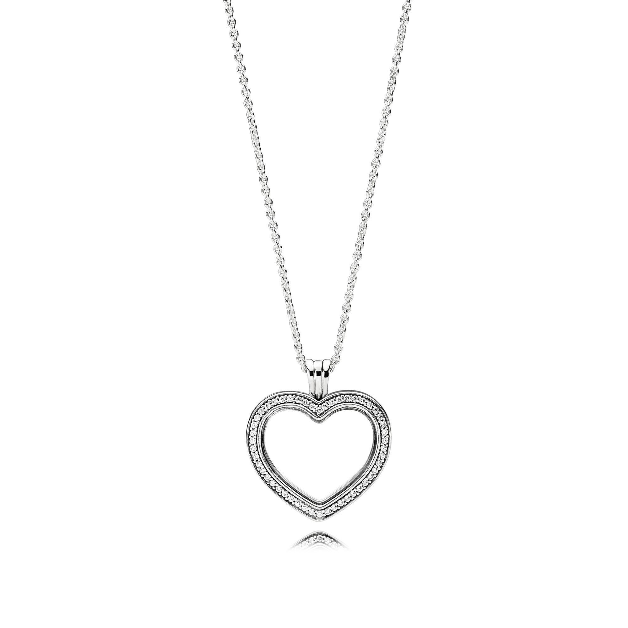Pandora Sparkling Pandora Floating Heart Locket, Clear Cubic With Regard To Most Current Sparkling Gift Locket Element Necklaces (View 4 of 25)