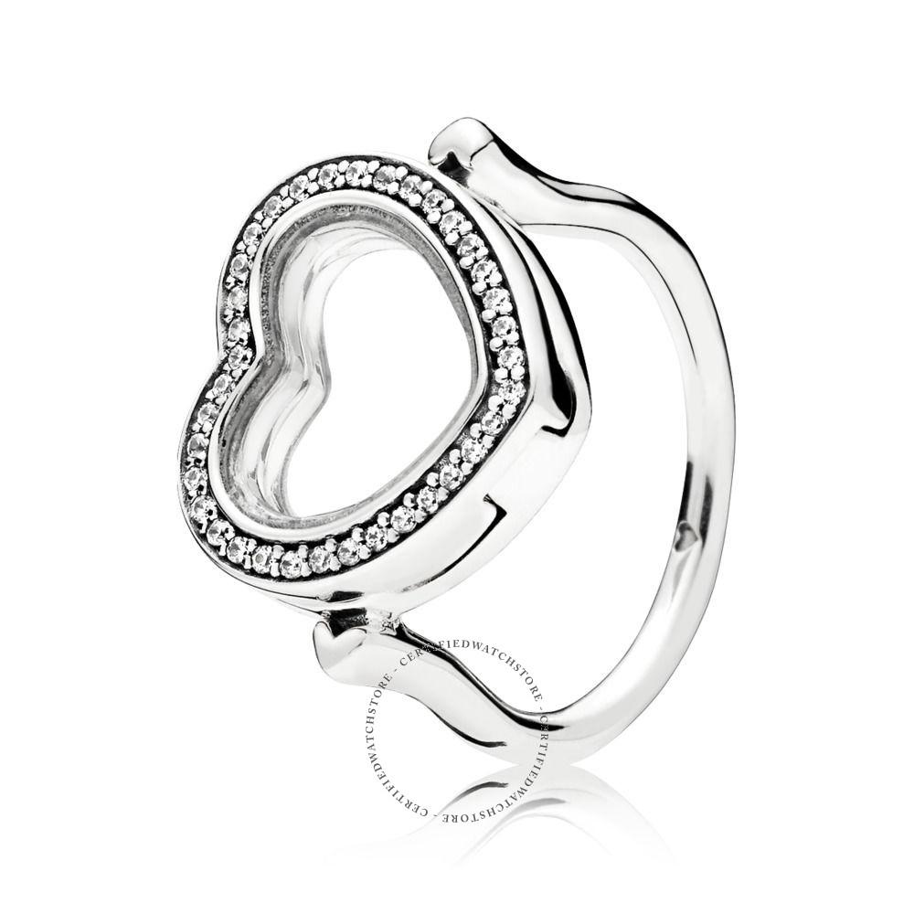 Pandora Sparkling Pandora Floating Heart Locket Ring Size  (View 19 of 25)