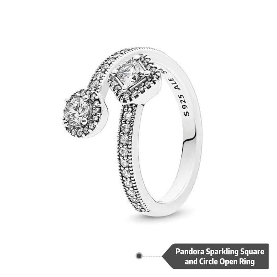 Pandora Sparkling Square And Circle Open Ring❣️ On Carousell With Regard To Newest Sparkling Square & Circle Open Rings (View 2 of 25)