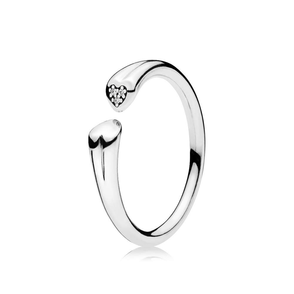 Pandora Two Hearts Ring Clear Cz 196572Cz Regarding Current Hearts & Pandora Logo Rings (View 22 of 25)