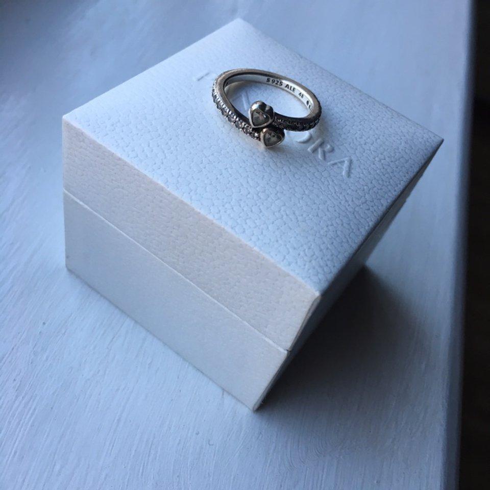 Pandora Two Sparkling Hearts Ring •size 48 •no – Depop Within Recent Two Sparkling Hearts Rings (View 5 of 25)