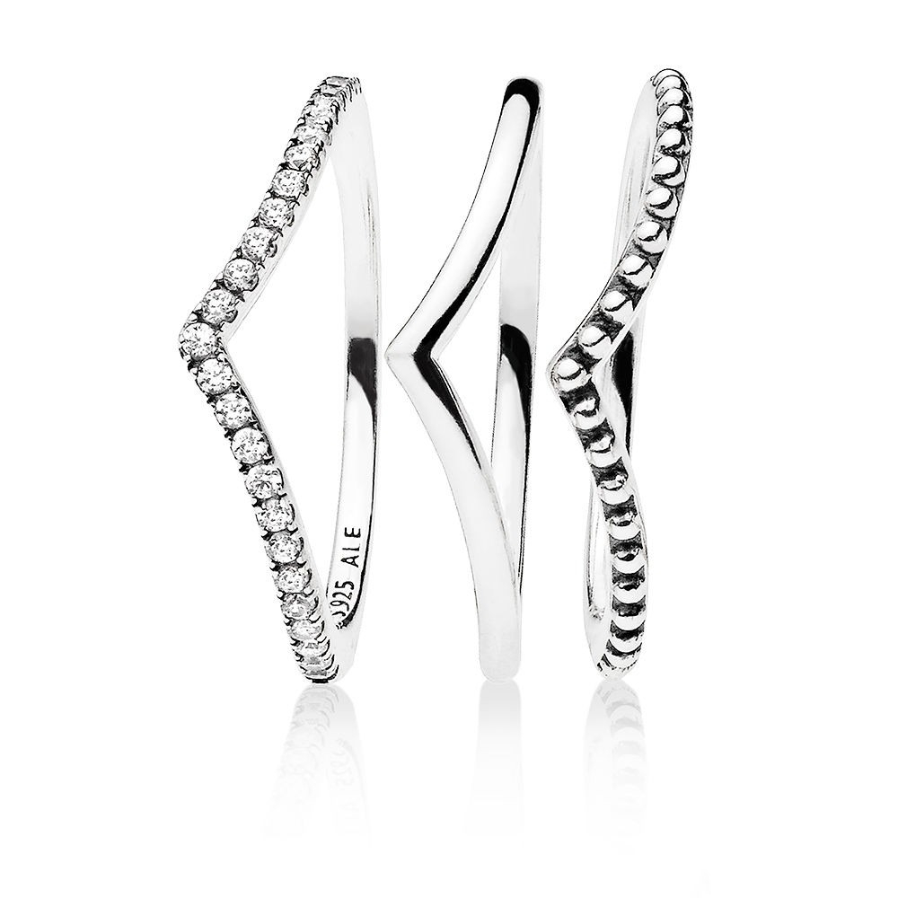 "Pandora ""wishbone"" Ring Set With 2018 Beaded Wishbone Rings (View 8 of 25)"