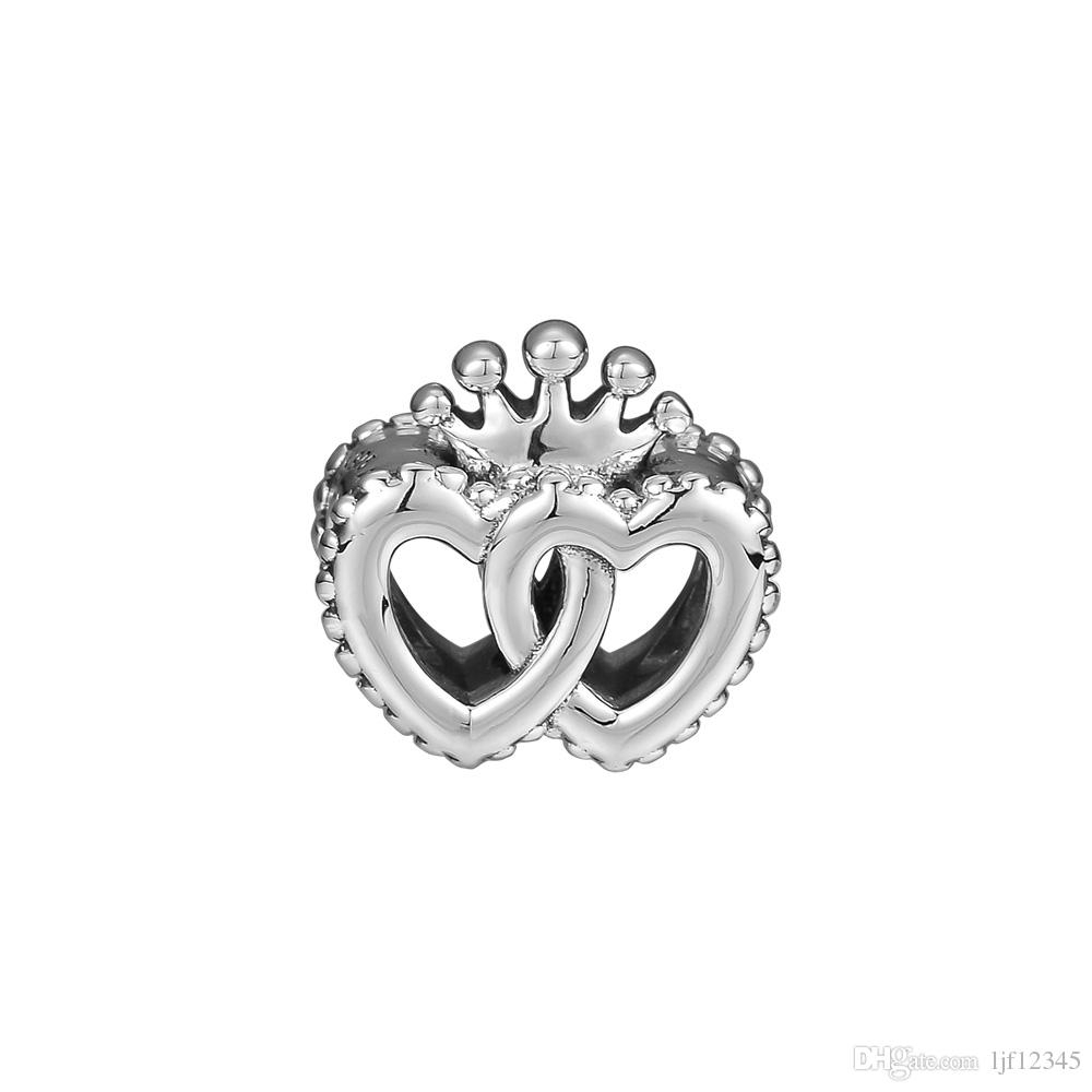 Pandulaso Interlocked Crown Hearts Beads For Jewelry Making Fit Chairms 925 Silver Bracelet & Bangle Fashion Jewelry Autumn Collection Throughout Most Recently Released Crown & Interwined Hearts Pendant Necklaces (View 16 of 25)