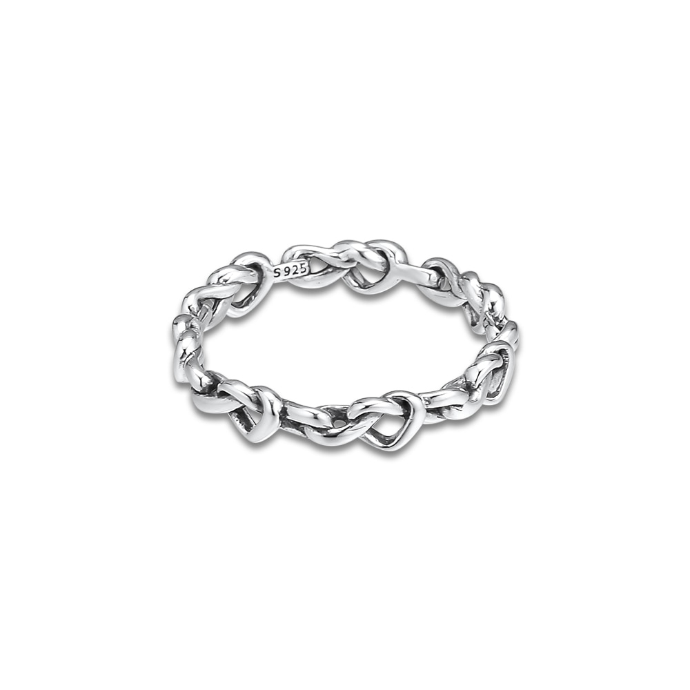 Pandulaso Knotted Hearts Band Ring 925 Sterling Silver Rings Diy Fashion  Female European Jewelry With Regard To Best And Newest Knotted Hearts Rings (Gallery 22 of 25)