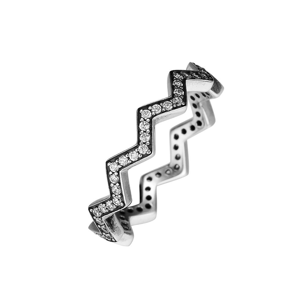 Pandulaso Rings Silver 925 Original Shimmering Zigzag Rings For Woman Jewelry Making Fashion European Silver Jewelry Pertaining To Most Current Shimmering Zigzag Rings (View 6 of 25)