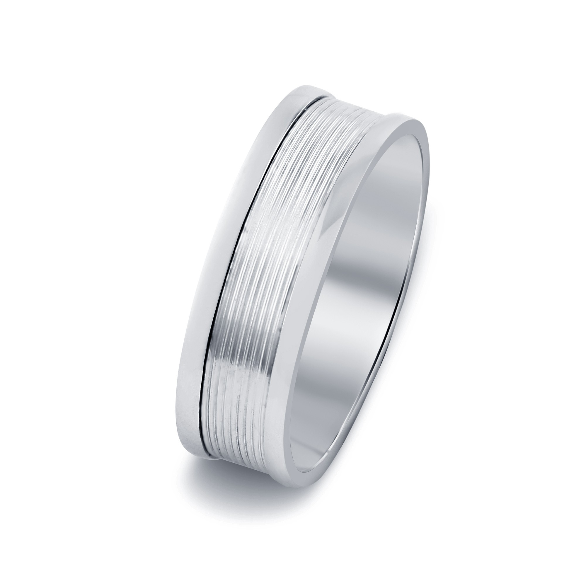 Patterned Stripes Inlay Wedding Band With Glossy Outer Rims In 18K In Most Up To Date White Stripes Wedding Rings (Gallery 10 of 15)
