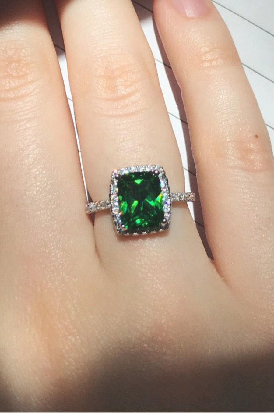 Patty Luxury Created Deep Emerald Green Crystal Cushion Cut Intended For 2018 Square Sparkle Halo Rings (View 13 of 25)